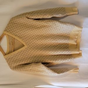 100% pure cashmere yellow and tan patterned v neck sweater